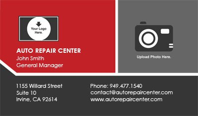 Red and Grey Auto Repair Business Card Template